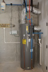 A heat pump water heater with 350 percent efficiency. (Karim Shamsi-Basha / Alabama NewsCenter)