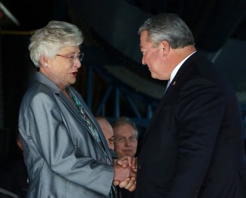 Gov. Kay Ivey greets Commerce Secretary Greg Canfield at a project announcement for Blue Origin, which is building a $200 million rocket engine factory in Huntsville. (Jamie Martin / Governor's Office)