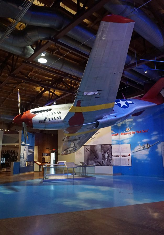 Replica of a Red Tail-painted P-51 in Hangar 2. (Erin Harney, Alabama NewsCenter)
