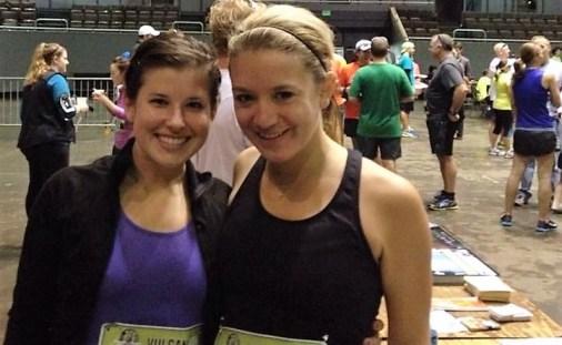 Marathon runners Elizabeth Wash (left) and Nicole Hedrick participate in a previous Vulcan Run. (Nicole Hedrick)