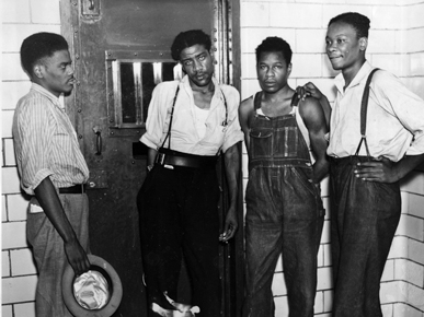 Left to right: Ozzie Powell, Willie Roberson, Clarence Norris and Andy Wright. (From Encyclopedia of Alabama, property of The Birmingham News)