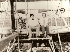 Walter Brookins, left, and Archibald Hoxsey trained with the Wright brothers at their flying school near Montgomery in 1910. (From Encyclopedia of Alabama, courtesy of Air University Historical Research Agency)