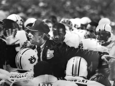 Pat Dye was named National Coach of the Year in 1983 and SEC Coach of the Year three times during his tenure at the helm of the Auburn Tigers football program. (From Encyclopedia of Alabama, property of The Birmingham News)
