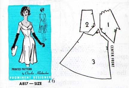 A817 pattern created by Charles Kleibacker for Reader Mail Inc., USA. A brilliant technician, Kleibacker created a fitted and fluid dress with this pattern design based on only three pieces. (From Encyclopedia of Alabama, pattern by Reader Mail Inc., USA. Michael Cunningham Collection)