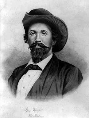 """Born in Huntsville, Madison County, Gen. John Hunt Morgan (1825-1864) is best known as the leader of """"Morgan's Raider,"""" a Confederate military unit that laid waste to Union materiel and supply lines during the Civil War. Morgan was killed on September 4, 1864, by Federal troops during a capture attempt. (From Encyclopedia of Alabama, Library of Congress Prints and Photographs Division)"""