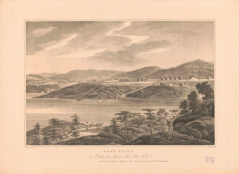 Print shows a view of the Hudson River, opposite of the military academy at West Point, New York, c. 1821-1825. (Artwork by W.G. Wall, Engraved by I. Hill, Library of Congress Prints and Photographs Division)