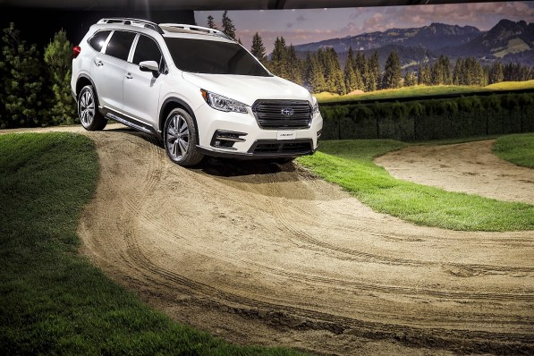 The Subaru Corp. Ascent sports utility vehicle (SUV) is displayed during a reveal event in Los Angeles. (Patrick T. Fallon/Bloomberg)
