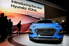 The Hyundai Motor Co. Kona compact crossover vehicle is displayed during AutoMobility LA ahead of the Los Angeles Auto Show. (Troy Harvey/Bloomberg)