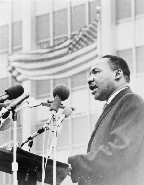 Martin Luther King, Jr., half-length portrait, taken during anti-war demonstration, New York City, 1967. (Photograph by Don Rice, New York World-Telegram & Sun Collection, Library of Congress Prints and Photographs Division)