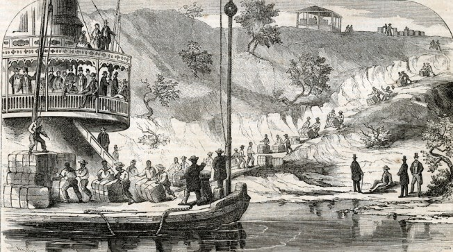 A 19th century engraving depicts cotton being loaded on the Alabama River. (Birmingham Public Library Archives)