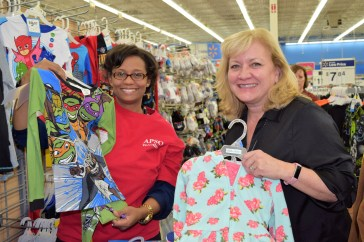 Logan-Buie (left) and Survey Mapping Supervisor Kay Harlow shop for Magic City APSO Angels. (Donna Cope/Alabama NewsCenter)