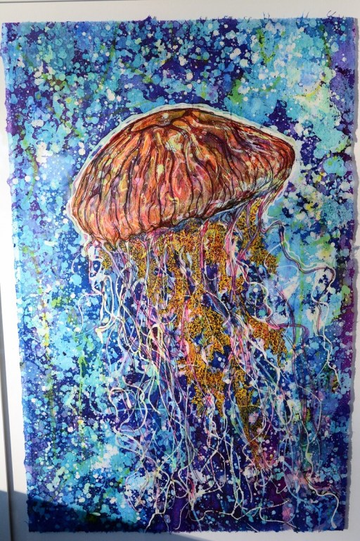 Nick Cantrell's Gulf Coast-themed batik works have proven popular at galleries and art festivals. (Karim Shamsi-Basha / Alabama NewsCenter)
