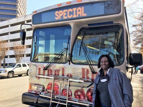 Erica Lamar-Coney made many toy deposits to the 'Jingle Bus.'