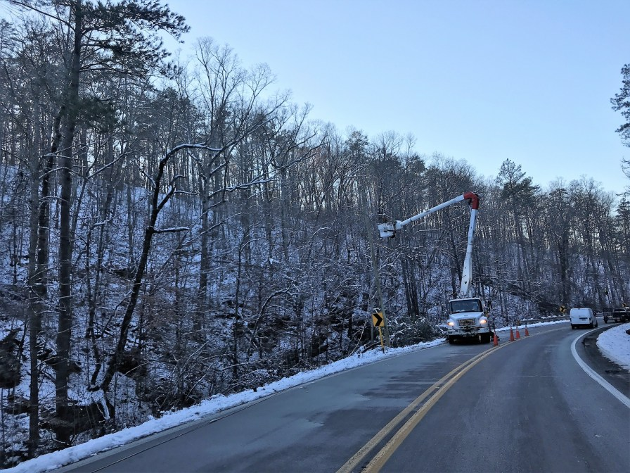 An Alabama Power crew works to restore electric service following Friday's surprisingly heavy and widespread snowfall. (Alabama Power)