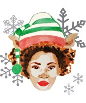 Kristin Farmer created diverse images of African American women with natural hair to adorn her holiday wrapping paper. More products are coming next year, she says. (Curly Contessa)
