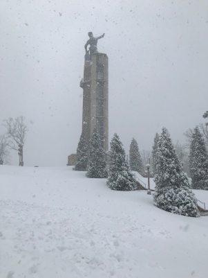 Vulcan Park atop Birmingham's Red Mountain received plenty of snowfall. (Vulcan Park)