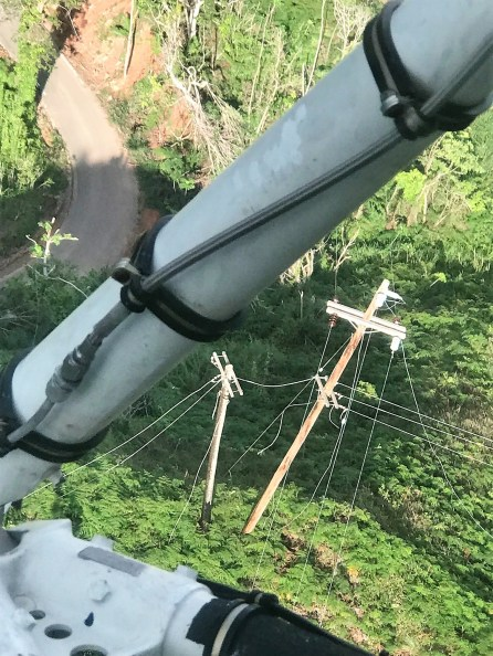 A view from a helicopter shows damage to Puerto Rico's power system from Hurricane Maria. (Contributed)