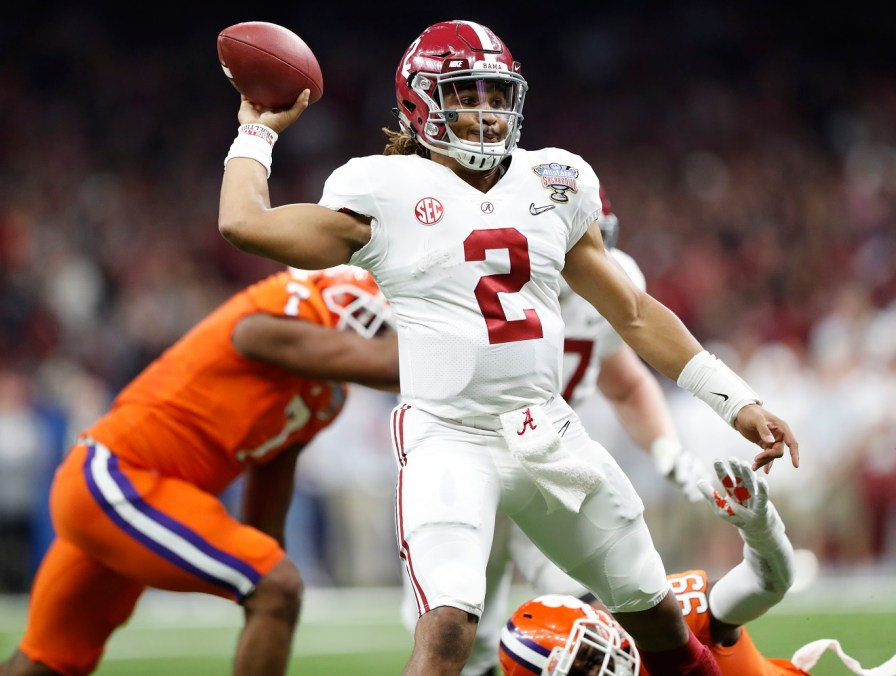 Alabama quarterback Jalen Hurts (2) during Monday's Sugar Bowl, which set up the Tide for another shot at the national title. (Crimson Tide Photos)