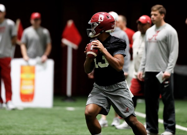 Two days after securing a spot in the national championship game, Alabama hits the field for a Wednesday practice. (Robert Sutton / University of Alabama Athletics)