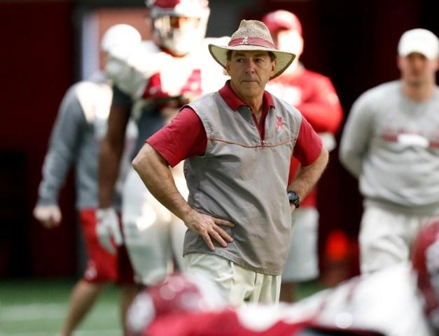 Alabama Head Coach Nick Saban directs the Crimson Tide during practice on Thursday. (Amelia B. Barton / University of Alabama Athletics)