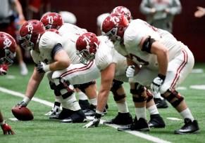 The Alabama offensive line gets ready for Georgia. (Amelia B. Barton / University of Alabama Athletics)