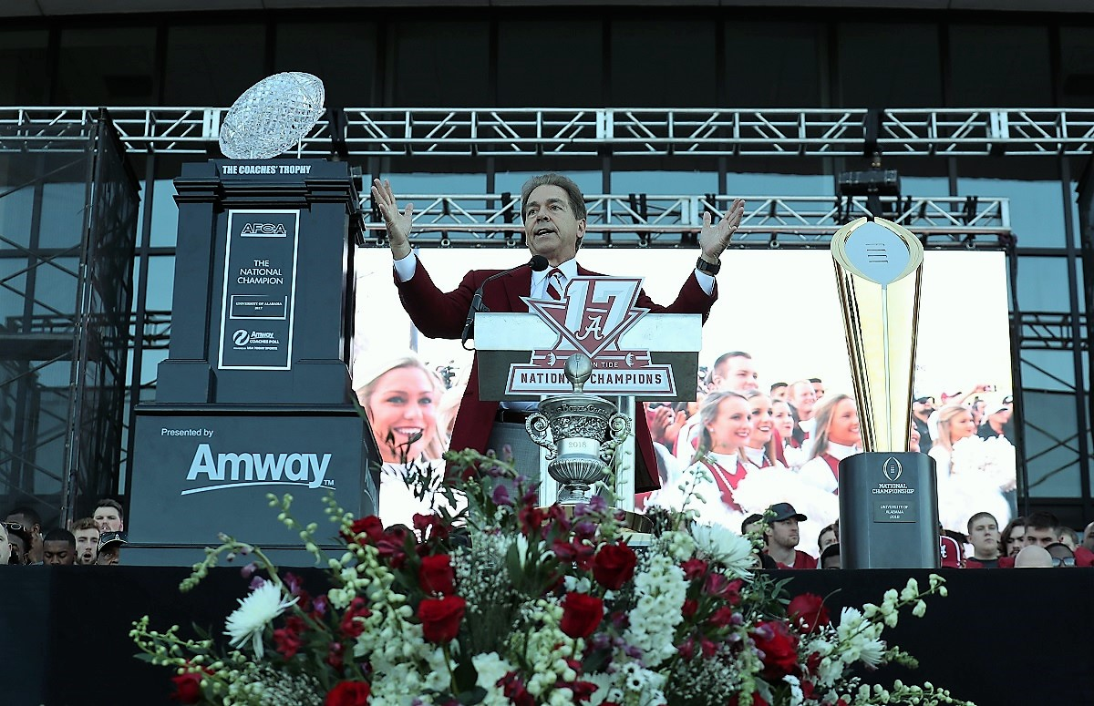 Nick Saban speaks at the national championship celebration. (Kent Gidley)