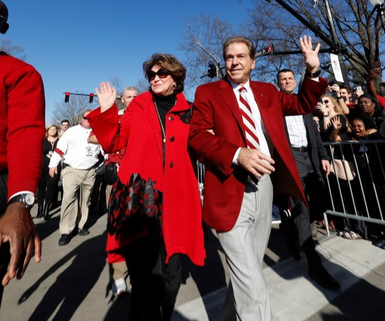 Terry and Nick Saban celebrate with fans. (Robert Sutton)