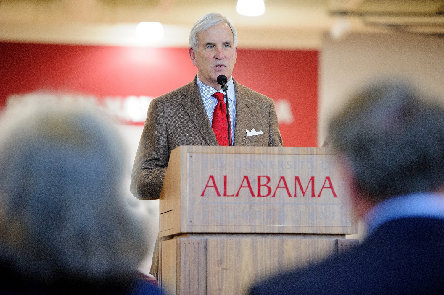 Mike Mouron, UA alumnus and donor, speaks during the reception for the opening of Stran-Hardin Arena. Mouron and his wife, Kathy, contributed $4 million to the $10 million project. (Matthew Wood / UA Strategic Communications)
