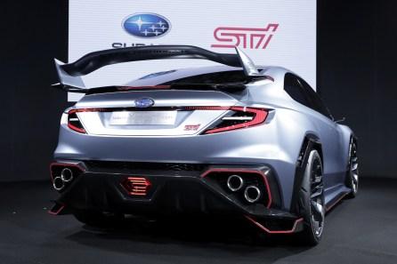 A Subaru Corp. Viziv STI Performance concept vehicle stands on display at the Tokyo Auto Salon. (Kiyoshi Ota/Bloomberg)