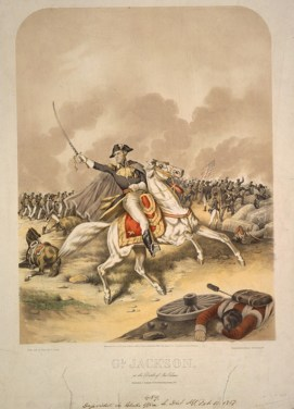 Andrew Jackson at the Battle of New Orleans. (Artwork by Charles Severin, Library of Congress Prints and Photographs Division)