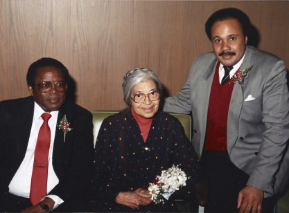 Attorney Fred Gray (Mrs. Parks' lawyer in 1955), Rosa Parks, and Martin King III, Dr. King's oldest son, c. 1980-1989. (Rosa Parks Paper, Library of Congress Prints and Photographs Division)