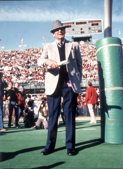Bryant awaits the beginning of the 1981 Alabama-Auburn game. Alabama's victory gave Bryant his 315th win, making him at the time the winningest coach in the history of college football. (Contributed)