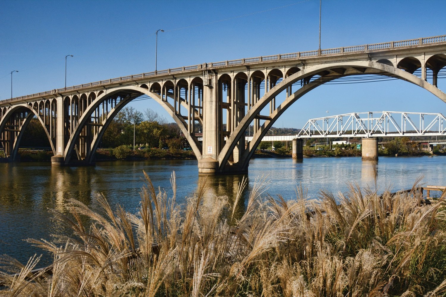 The Coosa River flows under the Meighan Bridge in Gadsden. The city is just beginning to take advantage of the river's beauty. (Karim Shamsi-Basha / Shorelines)
