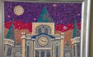 Many of Kathleen McCarron's paintings are made using Mardi Gras beads, but the subjects often have nothing to do with Mardi Gras. (Karim Shamsi-Basha / Alabama NewsCenter)