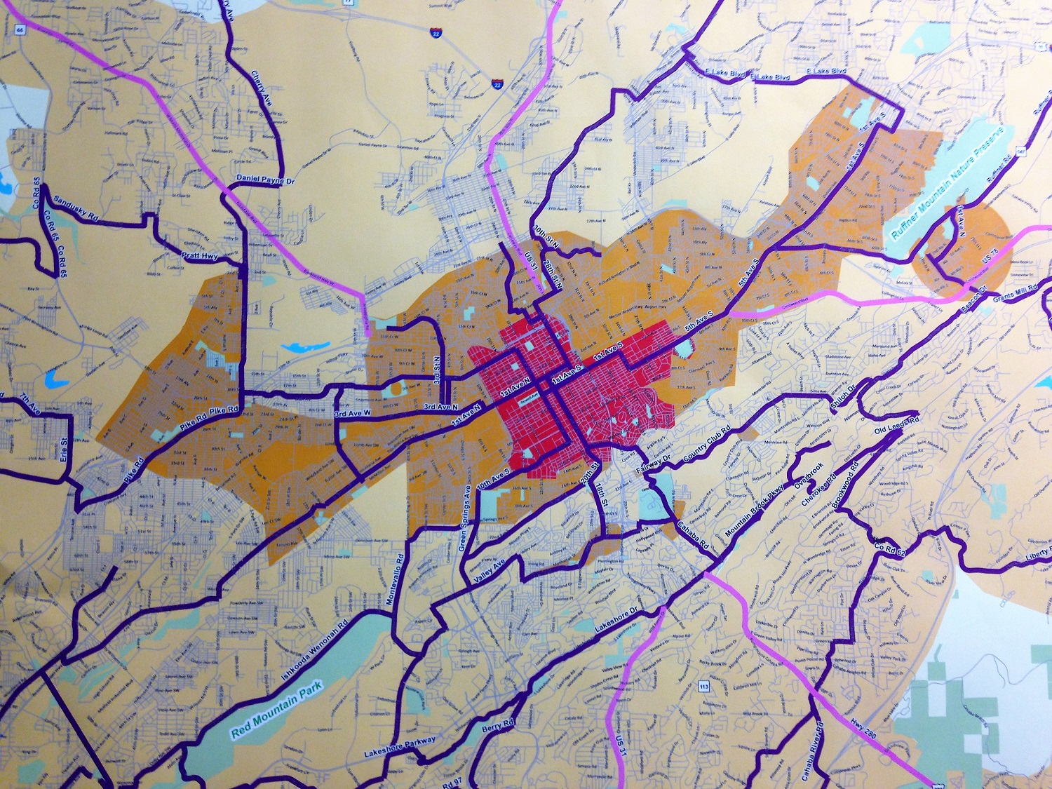 A map created for the B Active plan shows the Birmingham area broken down into zones. (contributed)