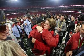 Nick Saban hugs wife Terry Saban after the Crimson Tide captured the National Championship Game. (Crimson Tide Photos)