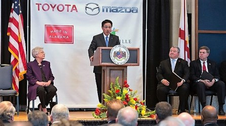 Masamichi Kogai, president and chief executive officer of Mazda Motor Corp., speaks at last month's announcement of the Toyota-Mazda plant coming to Huntsville. (file)