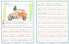 Thank you letters for Alabama Power crews working to restore outages from Hurricane Irma. (Alabama NewsCenter/file)