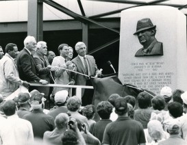 """A monument honoring Paul """"Bear"""" Bryant is unveiled at Legion Field in Birmingham, scene of many Alabama victories. (Contributed)"""