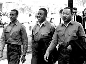 Civil rights leaders, including Rev. Fred Shuttlesworth (left), join Dr. King. (file)