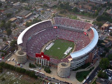 """Bryant-Denny Stadium in Tuscaloosa, named for former University of Alabama president George Denny and legendary football coach Paul """"Bear"""" Bryant, is the home of the UA Crimson Tide football team. It was constructed in 1929 as Denny Stadium, and in 1975 the state legislature renamed it to honor Bryant. (From Encyclopedia of Alabama, courtesy of Paul W. Bryant Museum, University of Alabama)"""