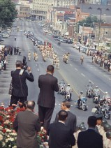 The funeral procession for Governor Lurleen Wallace proceeds along Dexter Avenue toward the Capitol in Montgomery on May 9, 1968. (From Encyclopedia of Alabama, Alabama Department of Archives and History)