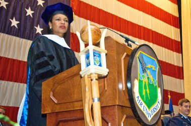 Secretary of State Condoleezza Rice speaks after receiving an honorary degree at Air University at Maxwell Air Force Base in April 2008. (From Encyclopedia of Alabama, courtesy of the U.S. Air Force. Photograph by Donna Burnett)