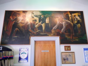"""Mural entitled, """"Removal of the County Seat from Daphne to Mobile"""" by Hilton Leech, 1939. Mural was relocated to the Bay Minette post office in 1987. (Jimmy Emerson, DVM, Flickr)"""