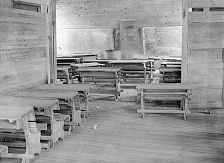 Interior of classroom in old Goodman school (the new Goodman school replaced three smaller schools). Coffee County,1939. (Photograph by Marion Post Wolcott, Library of Congress Prints and Photographs Division)