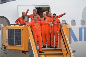 The A321LR test flight crew celebrates after landing. From left, crew members are Cedric Favrichon, Frank Hohmeister, Jim Fawcett, Pete Lofts, Alexander Gentsch and Yann Beaufils. (contributed)