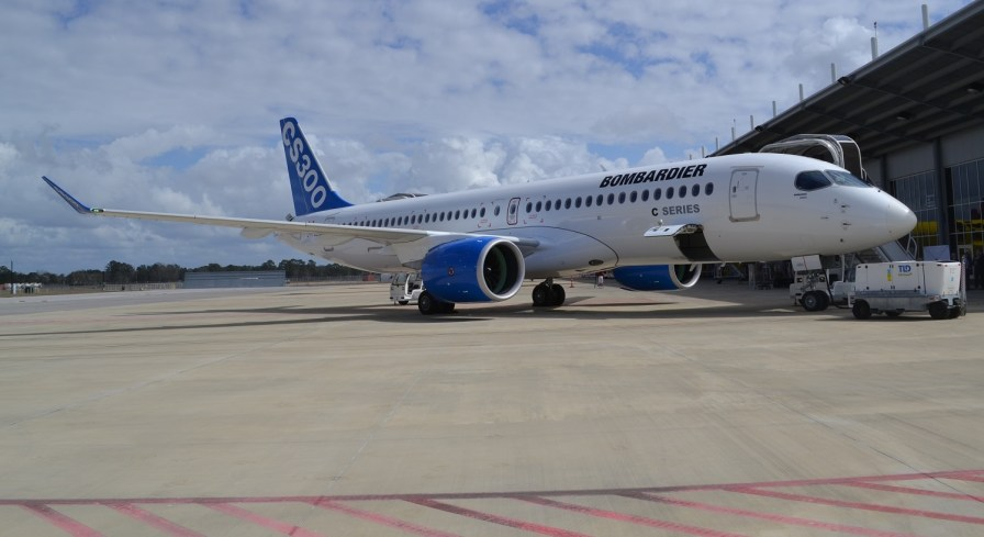 A Bombardier C Series jetliner is parked at Airbus' Alabama production center, where the aircraft could one day be assembled. (contributed)