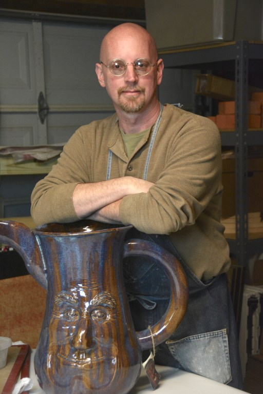 Clay artist Brian Corry uses his hands to create unique pieces of art such as clay pot, face jugs and ring jugs. (Karim Shamshi-Basha)