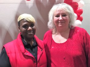 Janice Pickens (left) and Terry Bouchillon of the Birmingham Parks and Recreation Board welcomed guests. (Donna Cope/Alabama NewsCenter)