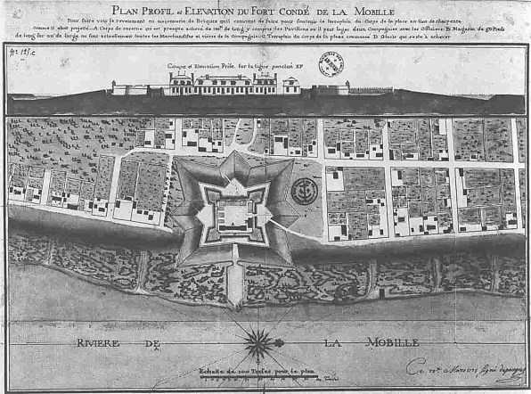 Profile and elevation map of Fort Condé at Mobile, 1725. (Adrien de Pauger, Wikipedia)